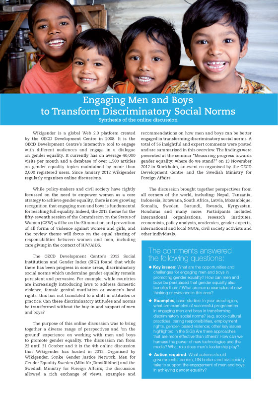 Engaging Men and Boys to Transform Discriminatory Social Norms