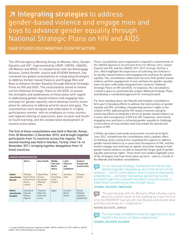 Integrating strategies to address gender-based violence and engage men and boys to advance gender equality through National Strategic Plans on HIV and AIDS