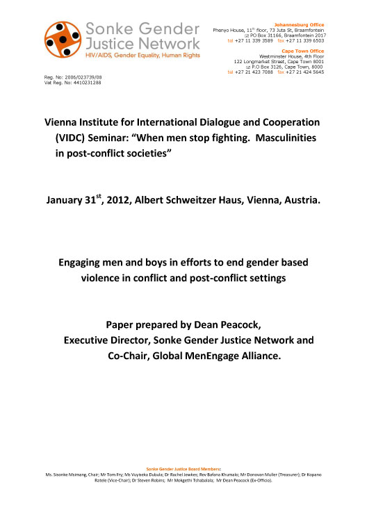 """Vienna Institute for International Dialogue and Cooperation (VIDC) Seminar: ""When men stop fighting. Masculinities in post-conflict societies"" """