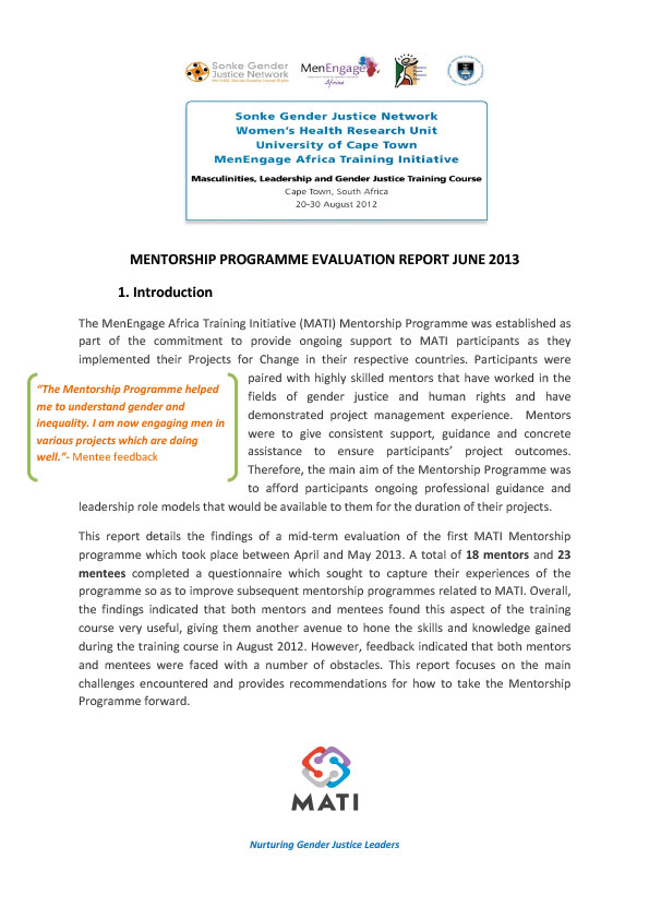 MATI Mentorship Programme Evaluation Report June 2013