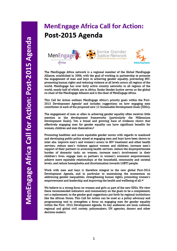 MenEngage Africa Call for Action: Post-2015 Agenda