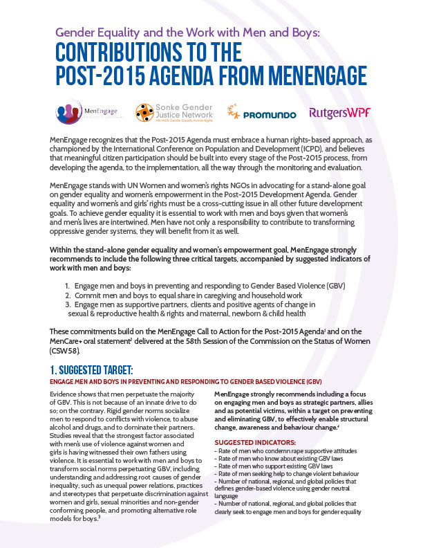 MenEngage 2015 Agenda