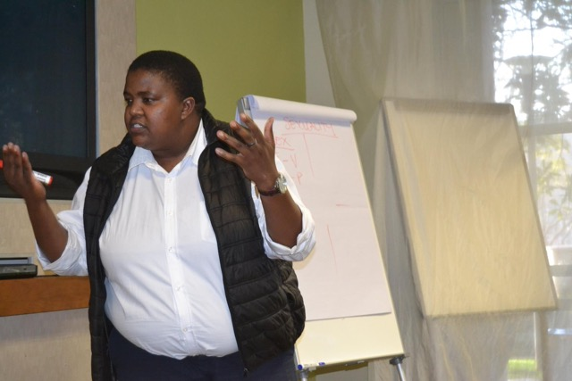 "Guest speaker, Mmapaseka ""Steve"" Letsike makes a point during her presentation."