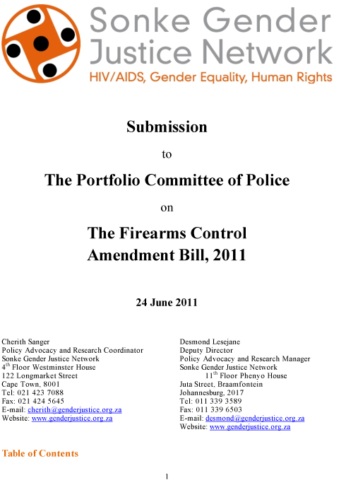Sonke Submission on Firearms Control Amendment