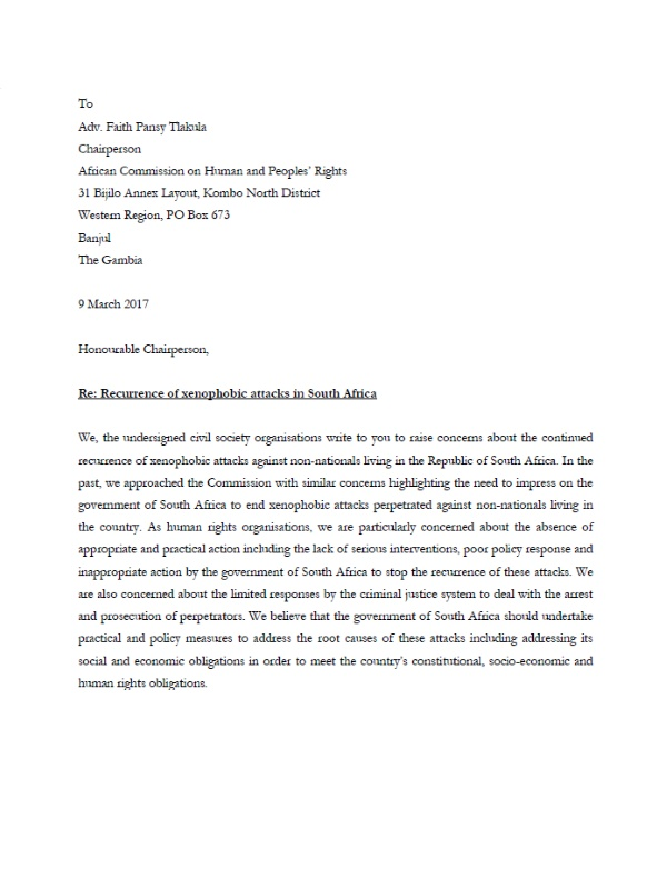 Letter African Commission Xenophobia