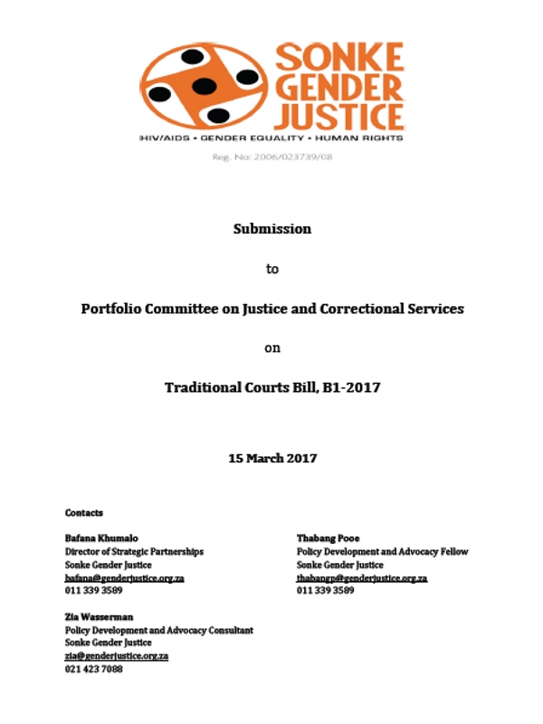 Submission Traditional Courts Bill
