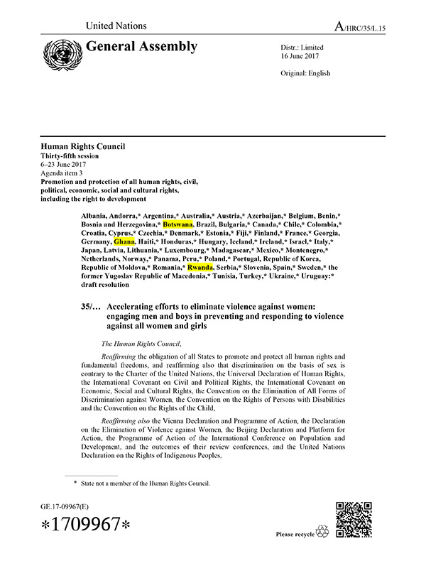 HRC VAW Resolution
