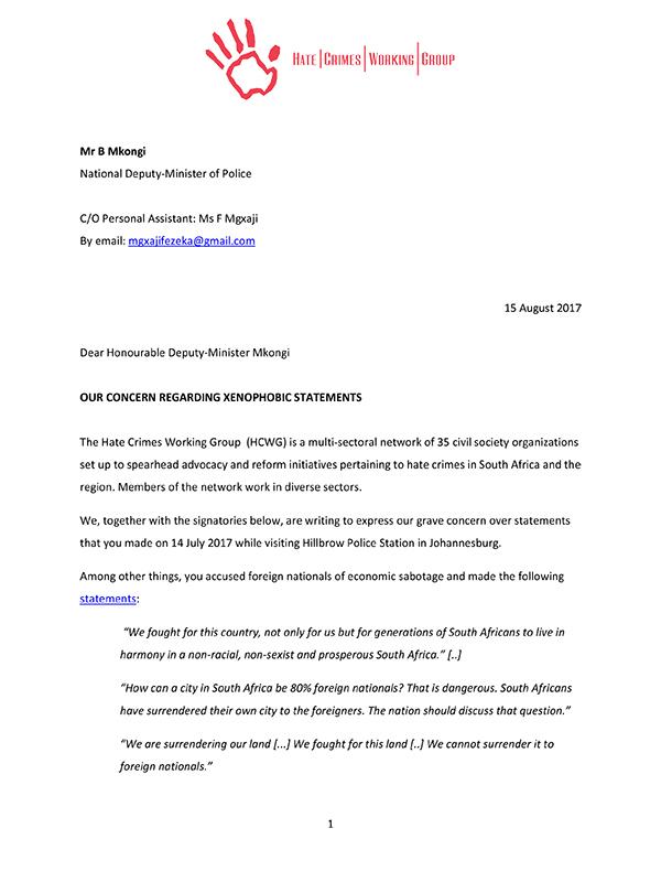 Open Letter Deputy Minister Police