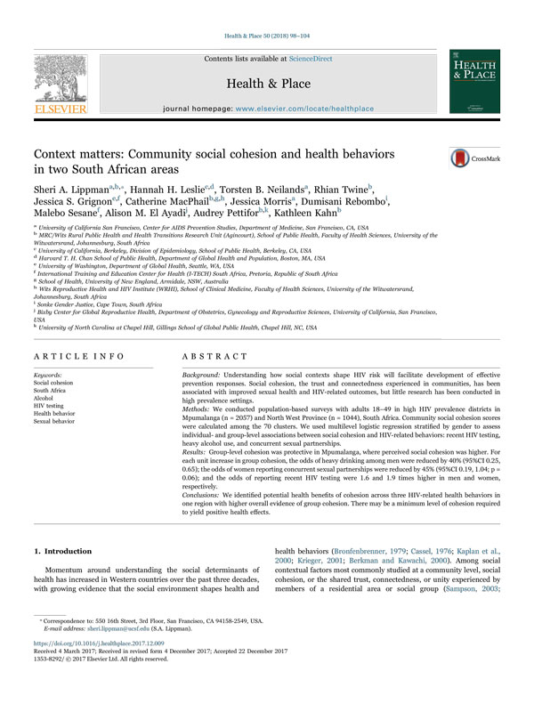 Context matters: Community social cohesion and health behaviors in two South African areas