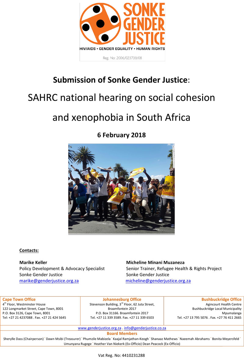 Sonke Gender Justice Submission Sahrc National Hearings