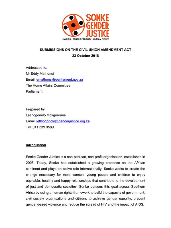 Submissions Civil Union Amendment Act