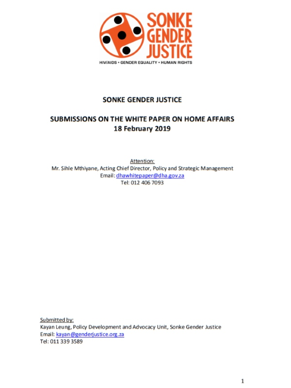 Sonke White Paper Home Affairs Submission