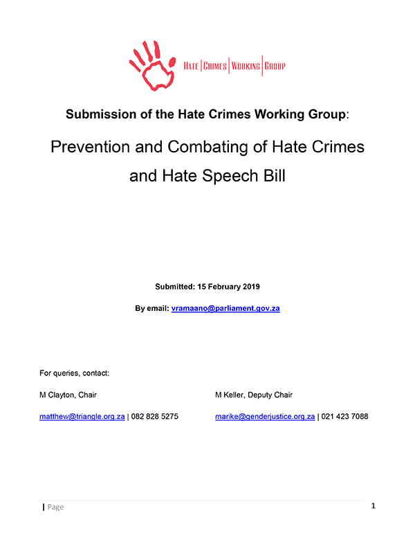Submission HCWG Prevention Combating Crimes Bill