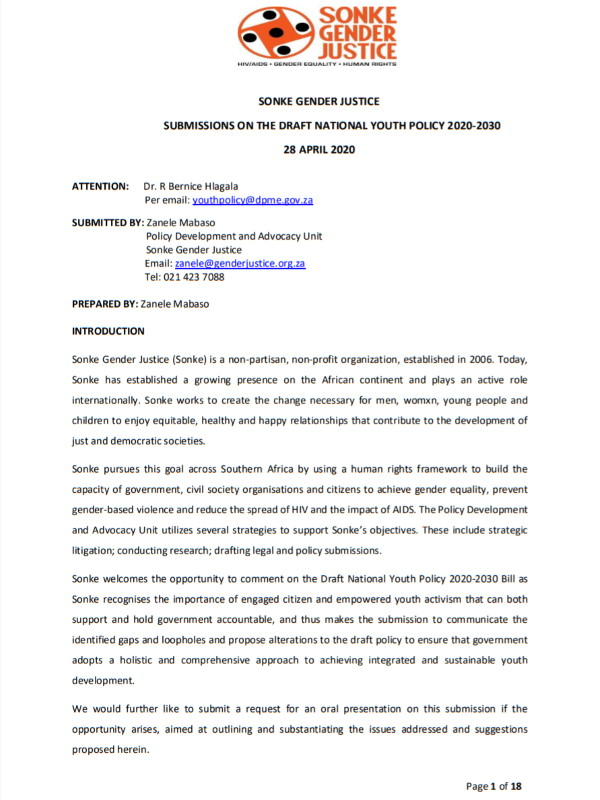 Submissions Draft National Youth Policy 2020-2030