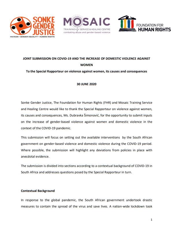 Sonke Mosaic FHR UN Rapporteur Submission