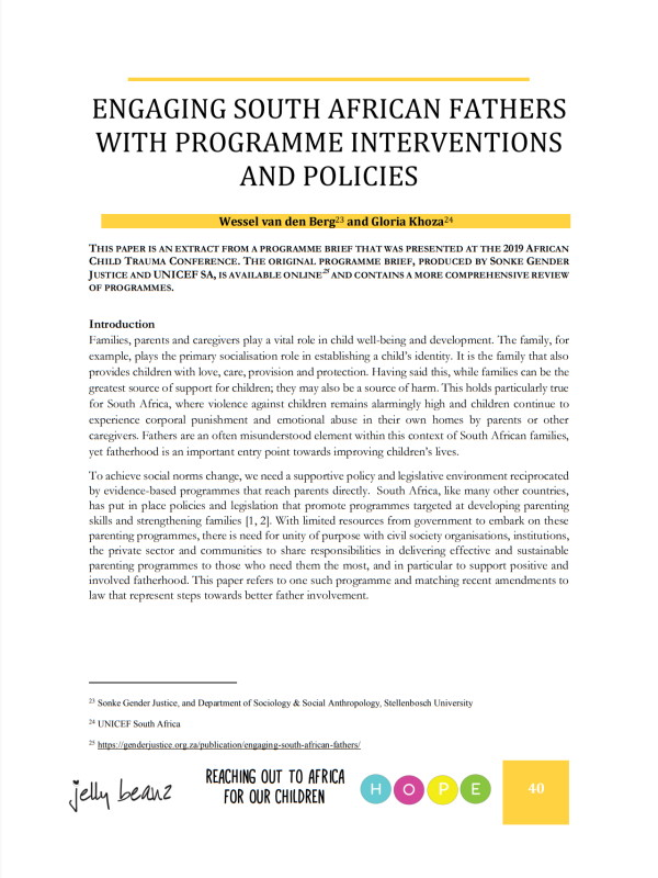 Engaging South African Fathers Programme Interventions Policies