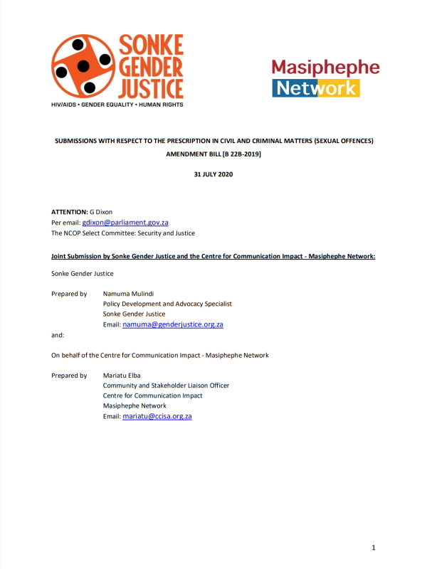 Submissions Prescription Civil Criminal Matters Sexual Offences Amendment Bill