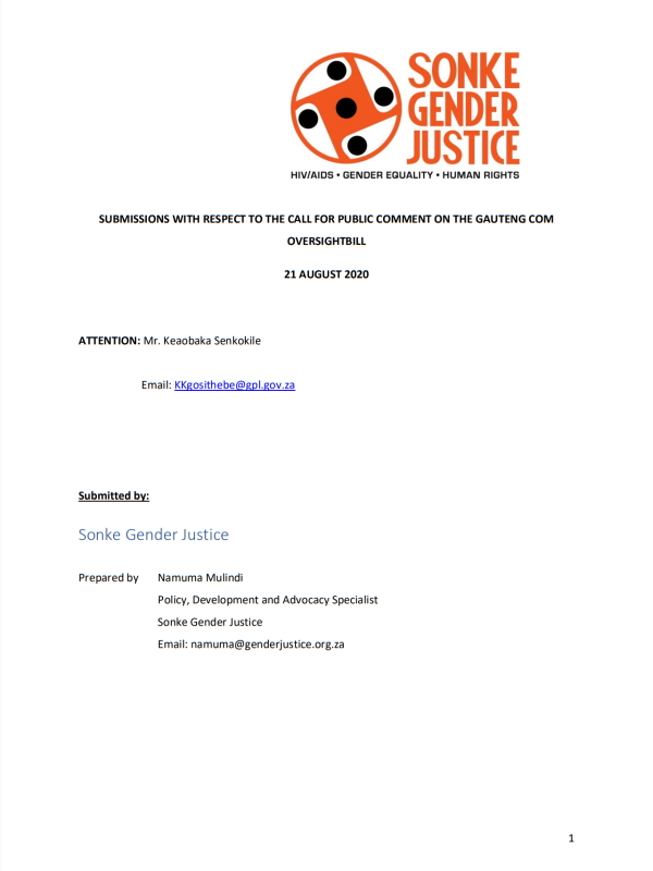 Submissions Call Public Comment Gauteng Com Oversightbill